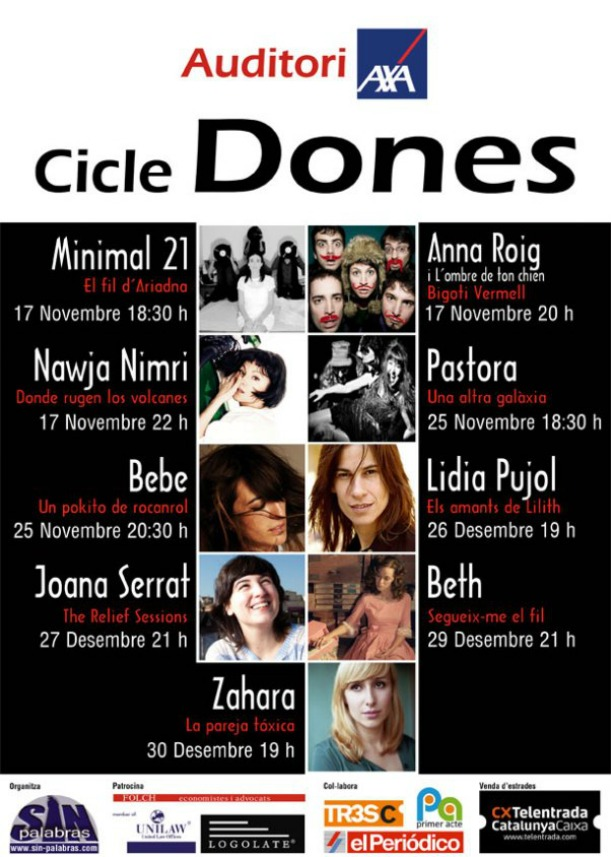 Te invitamos a los conciertos de Minimal 21, Anna Roig i Najwa Nimri en el Auditorio Axa.