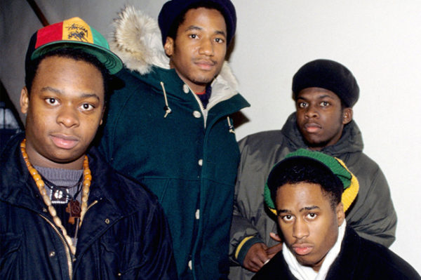 La formación original de A Tribe Called Quest de izq. a derecha: Jarobi White, Q-Tip, Ali Shaheed Muhammad y Phife Dawg. Foto: Ernie Paniccioli/Sony Pictures Classics.